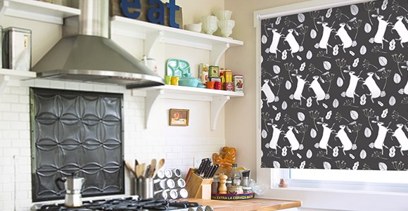 Charming illustrative window blinds featuring designs by Amanda Redwin
