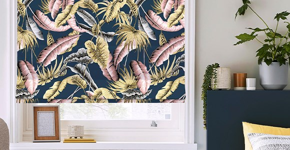 A collection of glamorous patterned roman blinds in linen or velvet by designer Boon & Blake