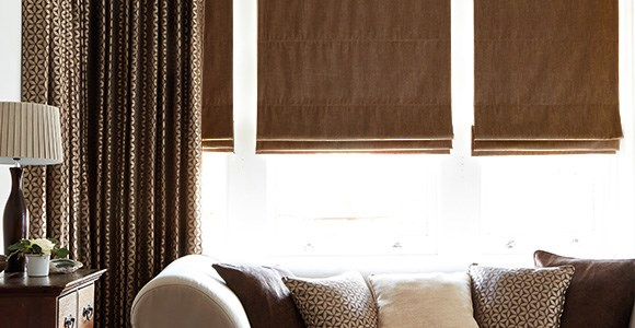 Chic brown roman blinds, handmade in a variety of beautiful shades and textures