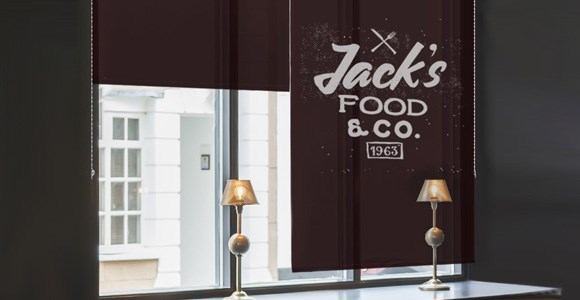 Custom printed logo blinds for cafes, shops and other businesses