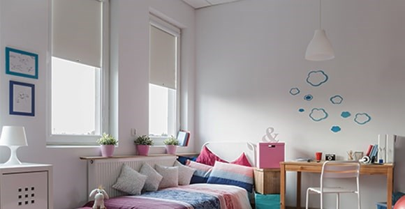 A collection of blackout perfect fit roller blinds in almost every colour.