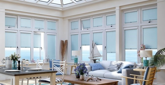 A collection of perfect fit daylight blinds using semi-transparent fabrics to gently filter light