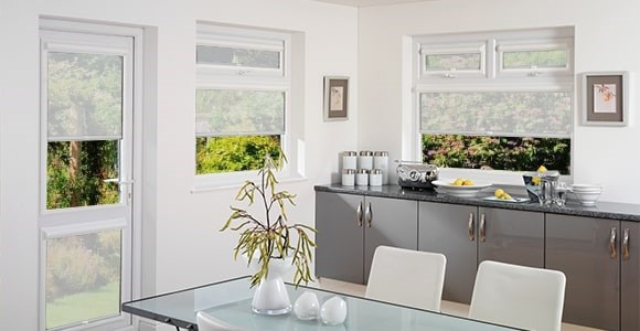 A collection of sheer perfect fit blinds that give privacy while still allowing in natural sunlight