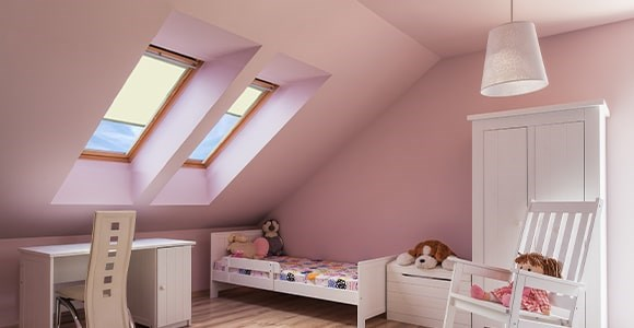 Roof-Lite Blinds available in a range of blackout fabrics.