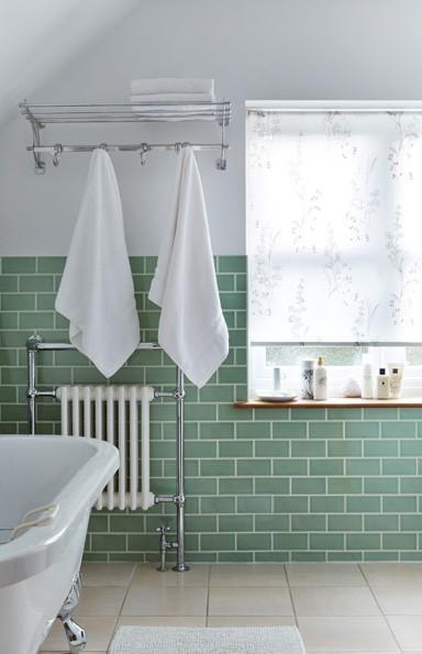 White Patterned Bathroom Roller Blind