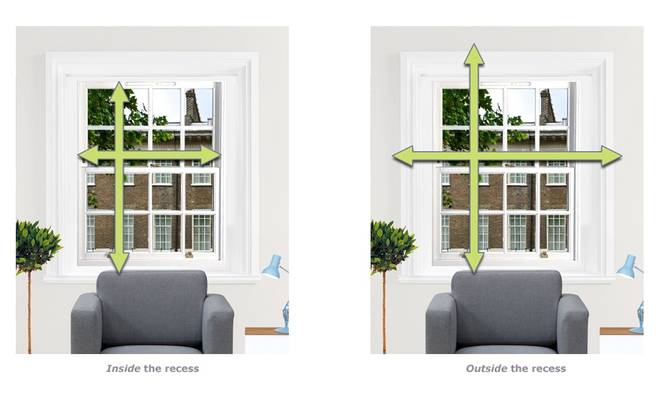 Fitting your blind inside or outside of the recess
