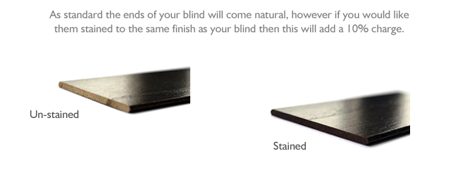 Stained Slat Ends for wood Venetian blinds