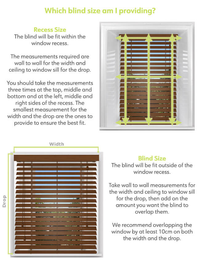 measurement is for wood venetian blinds