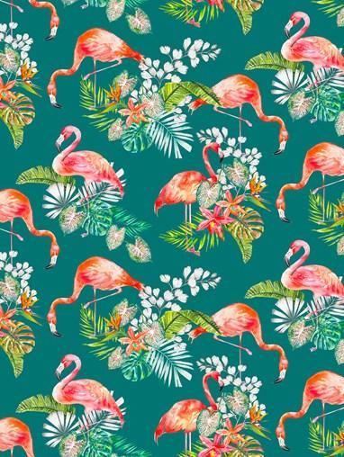 Flamingo Tropics Teal Floral Roller Blind