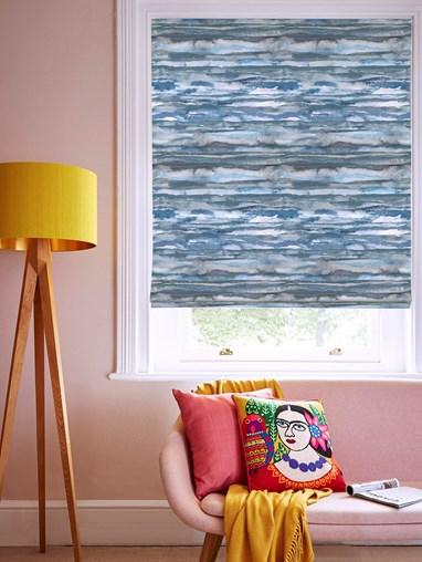 Aquarelle Stripe Denim Roman Blind