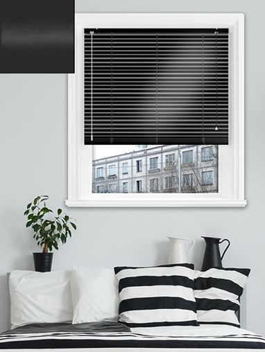 Gloss Black 25mm Aluminium Venetian Blind