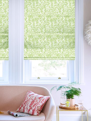 Bamboo Shadows Forest Green Floral Roman Blind