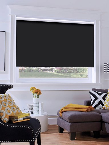 Black Blackout Thermal Express Roller Blind