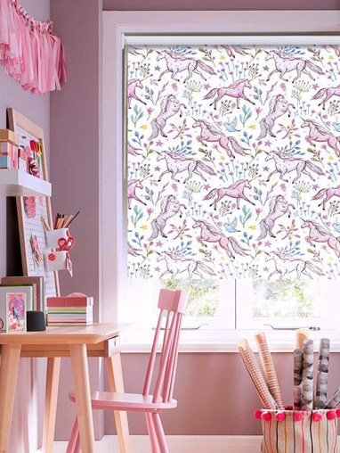 Blackout Unicorn Meadow No Drill Roller Blind