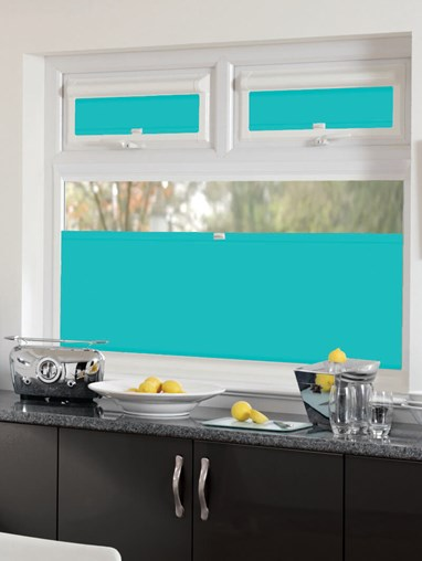 Perfect Fit Blackout Aztec Teal Bottom Up Blind