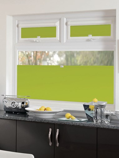 Perfect Fit Blackout Lime Green Bottom Up Blind