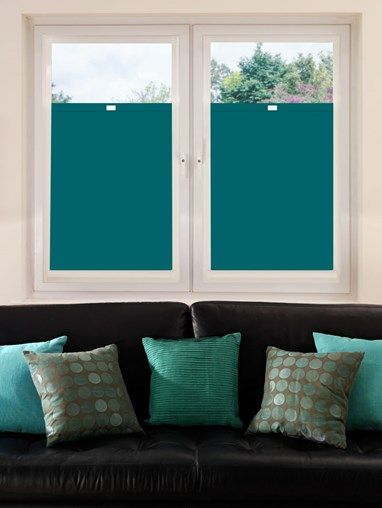 Perfect Fit Blackout Tiki Teal Bottom Up Blind