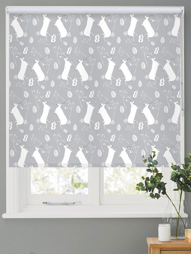 Boxing Hares on Cloud Roller Blind by Amanda Redwin