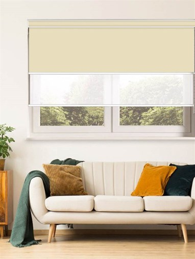 Cream and White Luxury Double Roller Blind