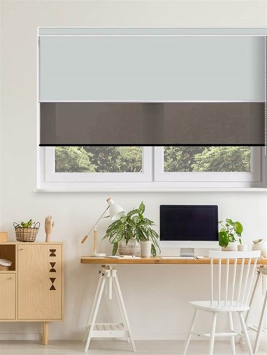 Light Grey and Black Luxury Double Roller Blind