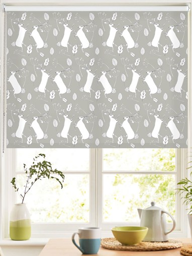 Boxing Hares on Flint Roller Blind by Amanda Redwin