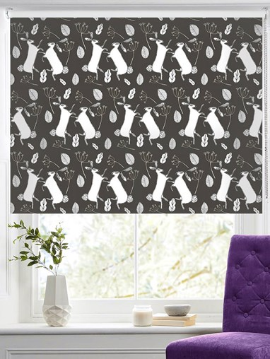Boxing Hares on Slate Roller Blind by Amanda Redwin