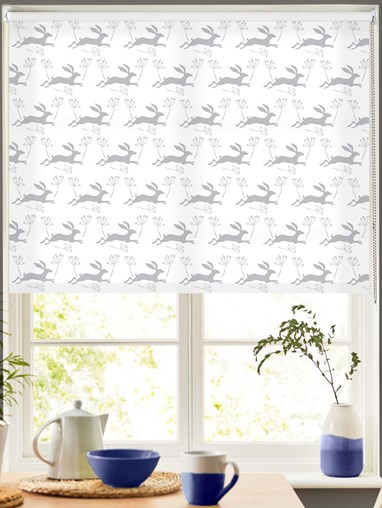 Leaping Hare in Cloud Roller Blind by Amanda Redwin