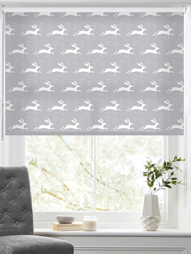 Leaping Hare on Cloud Roller Blind by Amanda Redwin