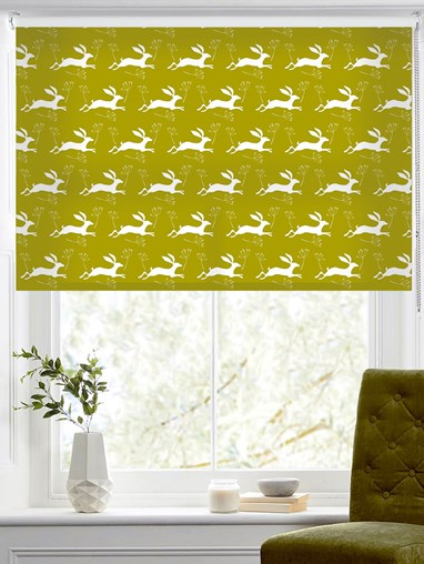 Leaping Hare on Pear Roller Blind by Amanda Redwin