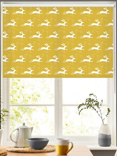 Leaping Hare on Sunflower Roller Blind by Amanda Redwin