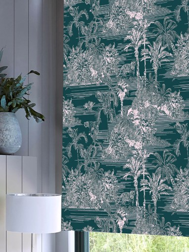 Tropical Toile Teal Roller Blind by Boon & Blake
