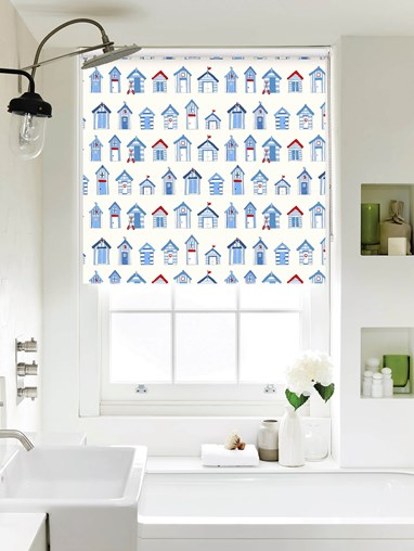 Beach Huts Off White Roller Blind