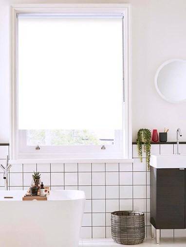 Carnation White Bathroom Roller Blind