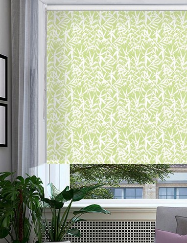 Bamboo Shadows Forest Green Floral Roller Blind