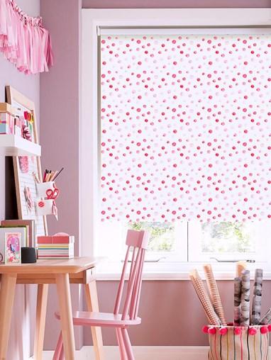 Pink Spots Blackout Roller Blind
