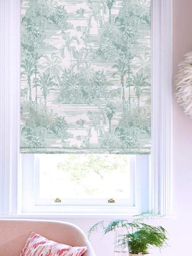 Tropical Toile Mist Roman Blind by Boon & Blake