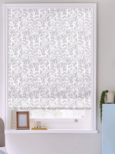 Bamboo Shadows Grey Floral Roman Blind