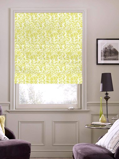 Bamboo Shadows Lime Floral Roman Blind