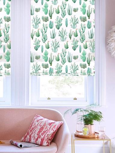 Cactus Aqua Floral Roman Blind