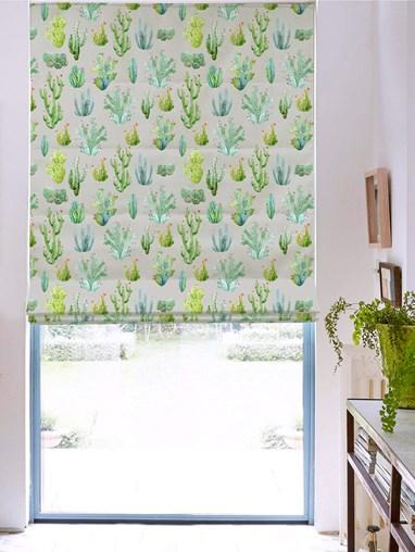 Cactus Light Grey Floral Roman Blind