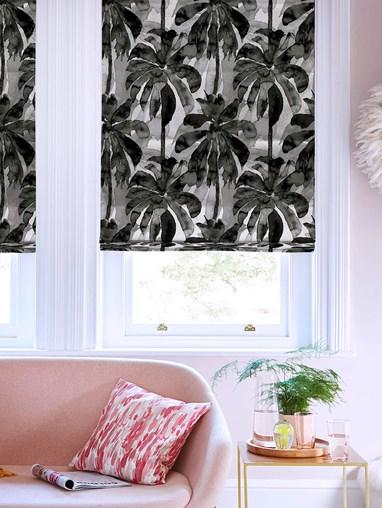 Mono Palms Floral Roman Blind