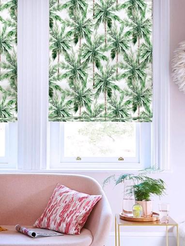 Santa Monica Green Floral Roman Blind