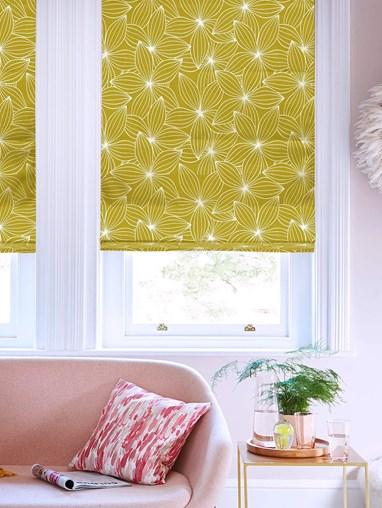 Starflower Mustard Floral Roman Blind