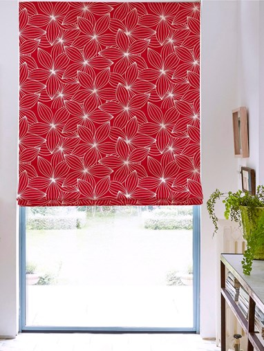 Starflower Red Floral Roman Blind