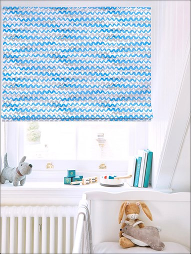 Squiggles Blue Roman Blind