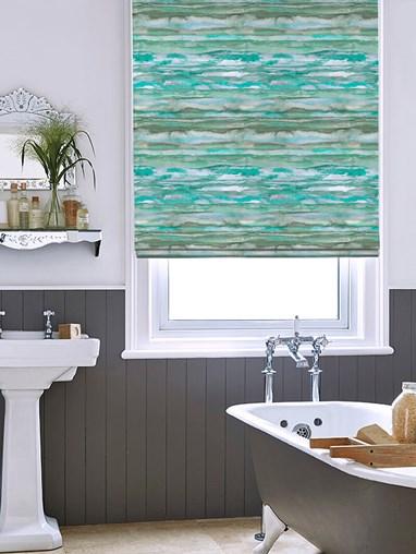 Aquarelle Stripe Aqua Roman Blind