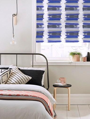 Painterly Stripe Blue Roman Blind