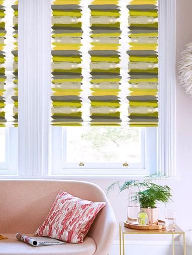 Painterly Stripe Chartreuse Roman Blind