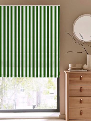 Ticking Stripe Green Roman Blind
