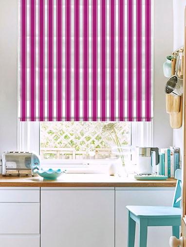 Ticking Stripe Pink Roman Blind
